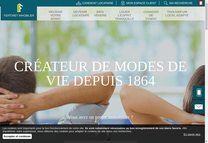 Capture d'écran du site de Fertoret Immobilier