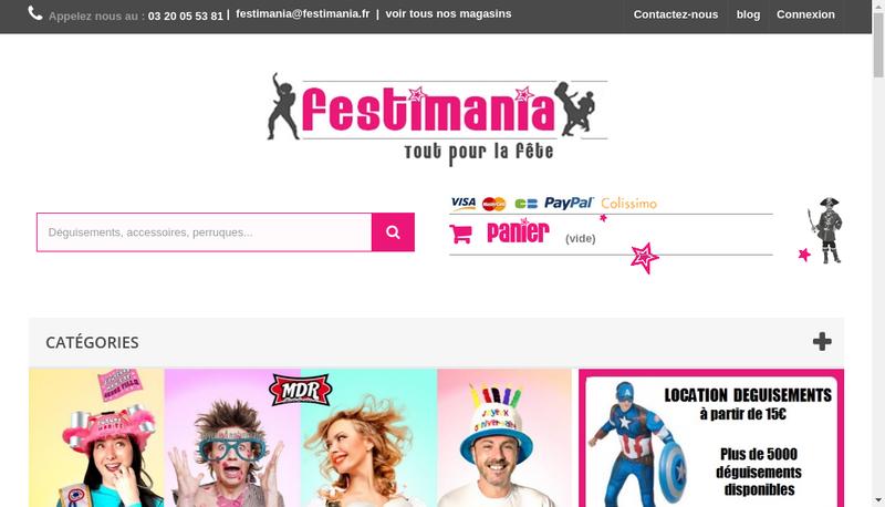 Capture d'écran du site de Festimania