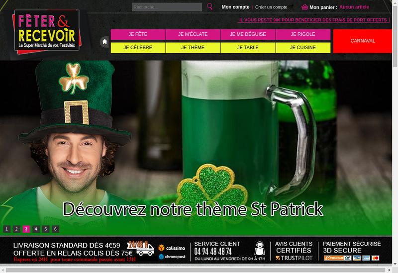 Capture d'écran du site de Feter &Recevoir