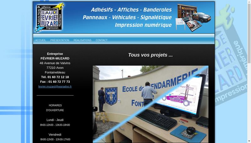 Capture d'écran du site de EURL Fevrier Muzard
