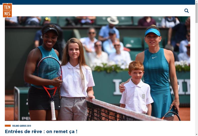 Capture d'écran du site de Federation Francaise de Tennis