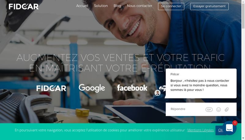 Capture d'écran du site de Fidcar