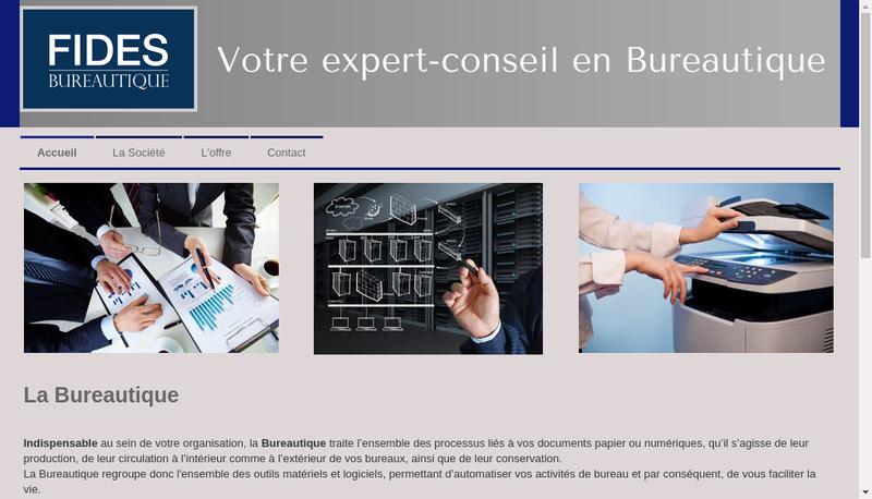 Capture d'écran du site de Fides Bureautique