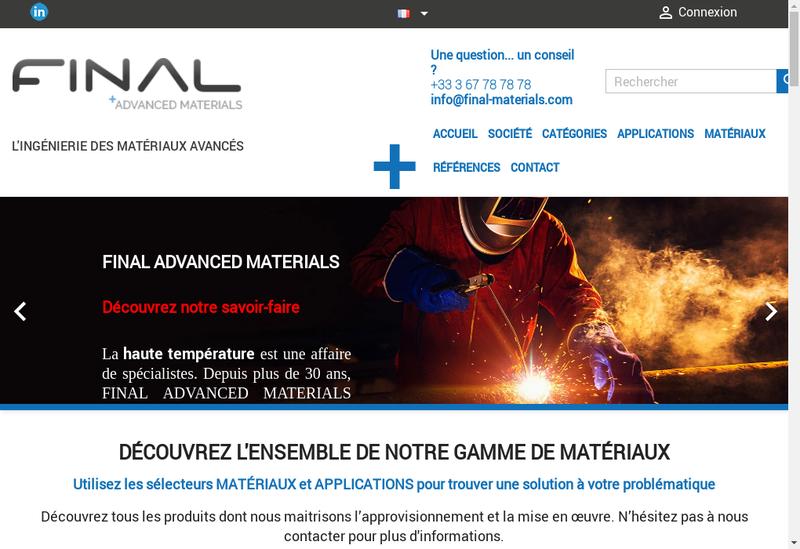 Capture d'écran du site de Final Advanced Materials