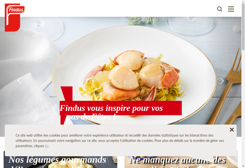 Capture d'écran du site de Findus France