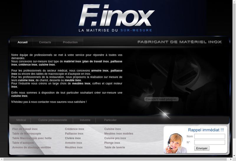 Capture d'écran du site de F Inox