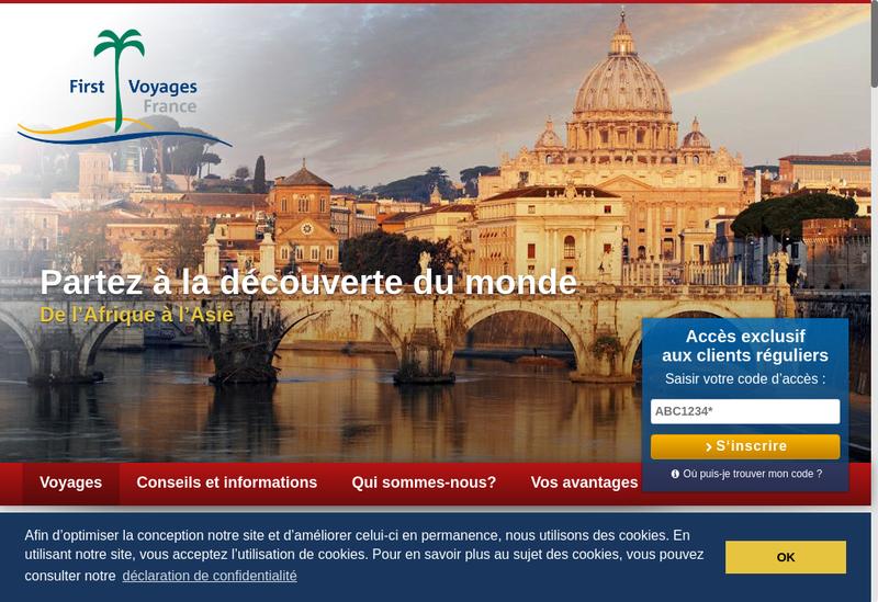 Capture d'écran du site de First Voyages France