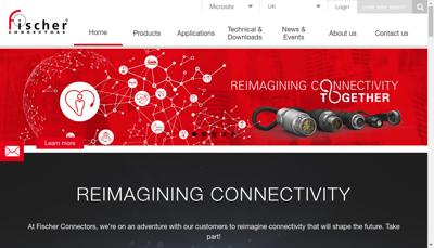 Capture d'écran du site de Fischer Connectors