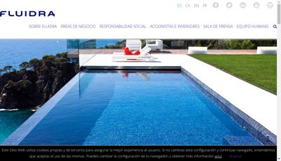 Capture d'écran du site de Fluidra Industry France