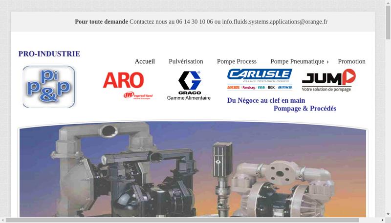 Capture d'écran du site de Pro Industrie
