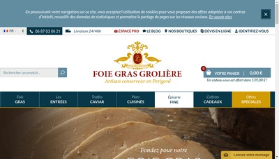 Site internet de Foies Gras Groliere
