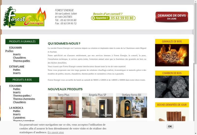Capture d'écran du site de Forest Energie