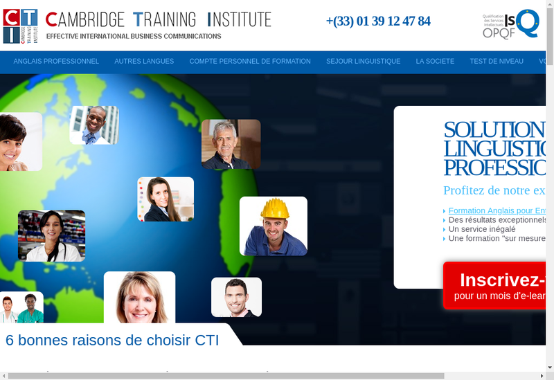 Capture d'écran du site de Cambridge Training Institute