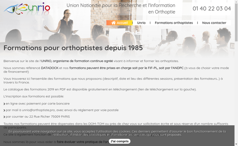 Capture d'écran du site de Union Nationale Recherche en Orthopie