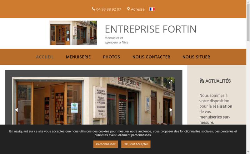 Capture d'écran du site de Entreprise Fortin