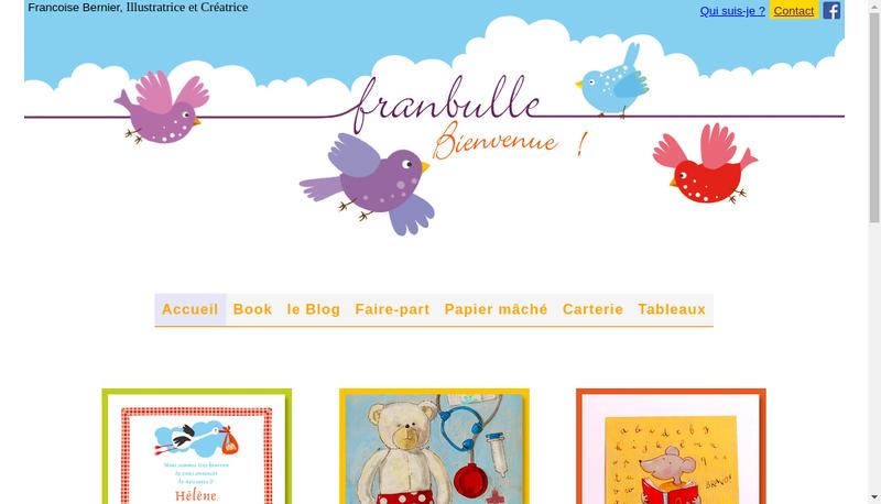 Capture d'écran du site de Franbulle-Illustration