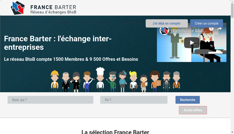 Capture d'écran du site de France Barter