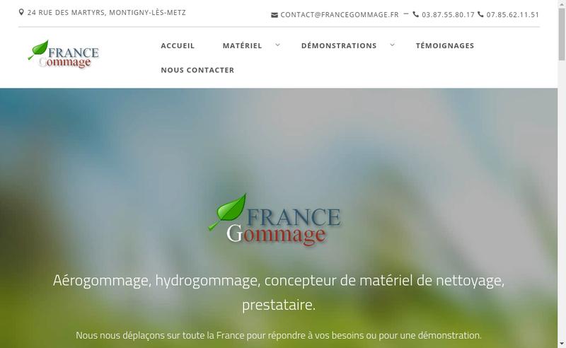 Capture d'écran du site de France Gommage