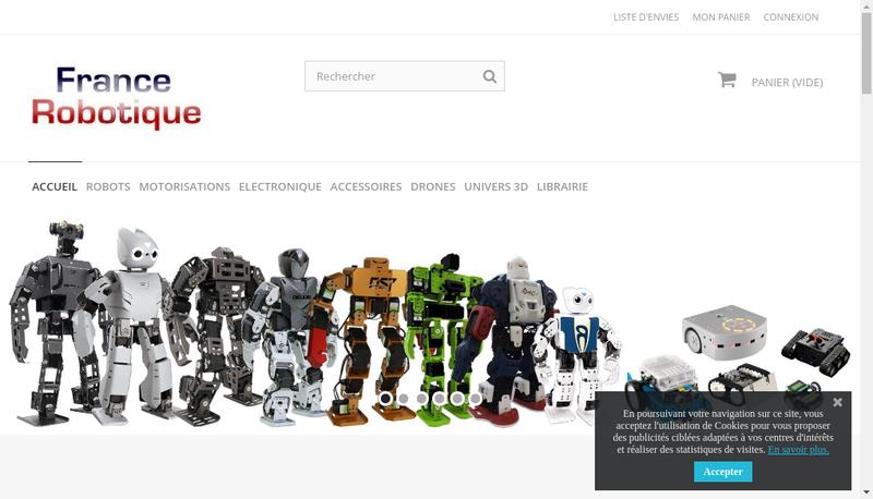 Capture d'écran du site de France Robotique