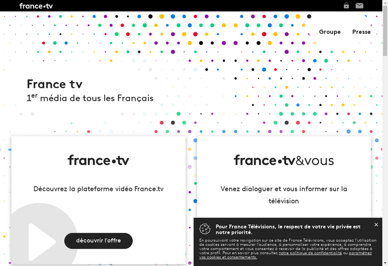 Capture d'écran du site de France Televisions