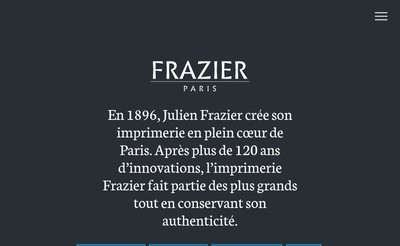 Site internet de Frazier Paris