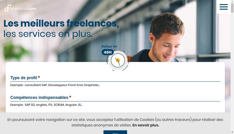 Capture d'écran du site de Freelancer
