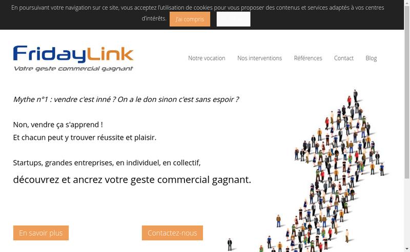 Capture d'écran du site de FridayLink
