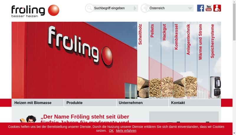 Capture d'écran du site de Froling