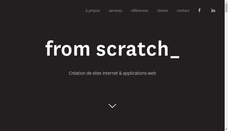 Capture d'écran du site de From Scratch