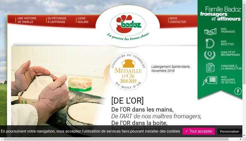 Capture d'écran du site de Fromagerie Badoz