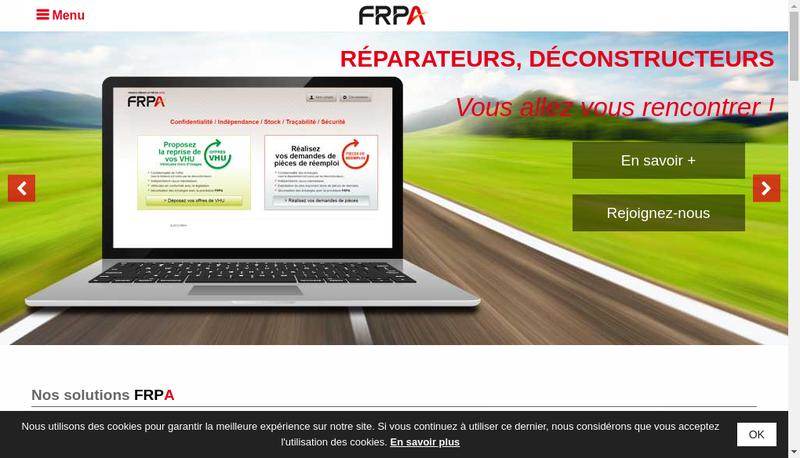 Capture d'écran du site de FRPA