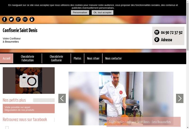 Capture d'écran du site de Confiserie Saint Denis