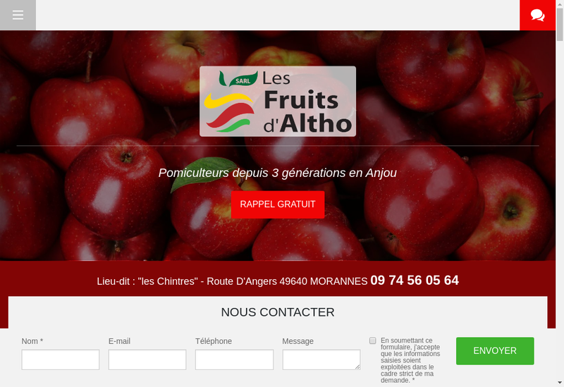 Capture d'écran du site de Les Fruits d'Altho