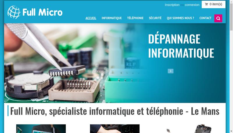 Capture d'écran du site de Full Micro