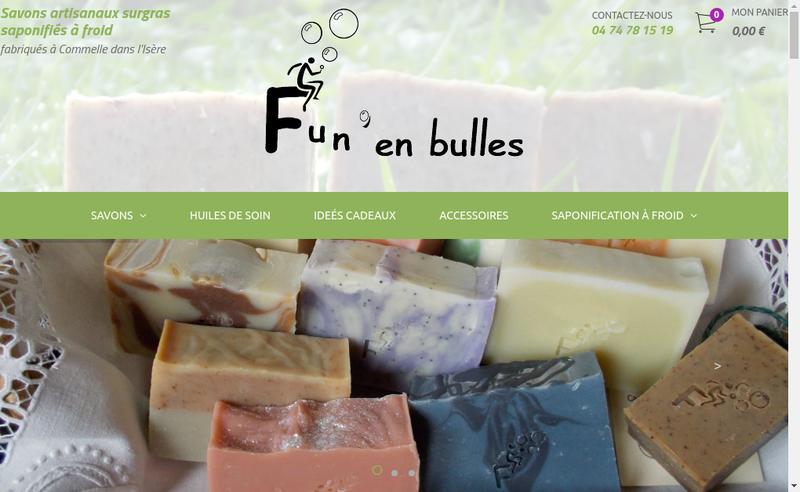 Capture d'écran du site de Fun en Bulles Savons Naturels