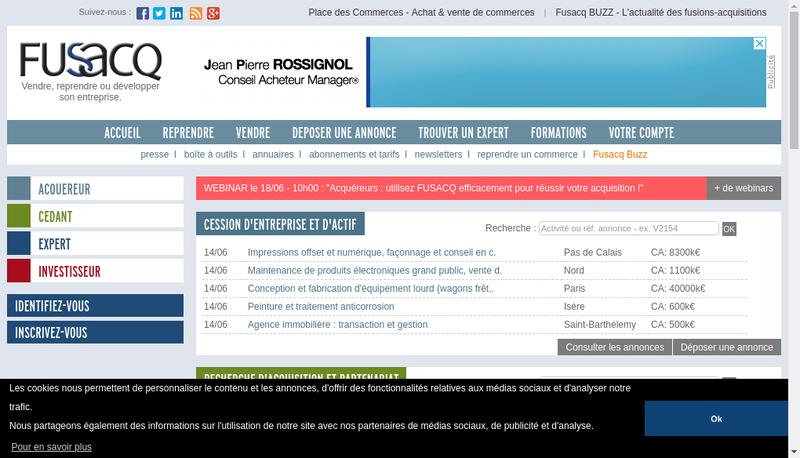 Capture d'écran du site de Fusacq