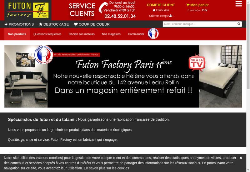Capture d'écran du site de Futon Factory - Coton et Tradition - Fut
