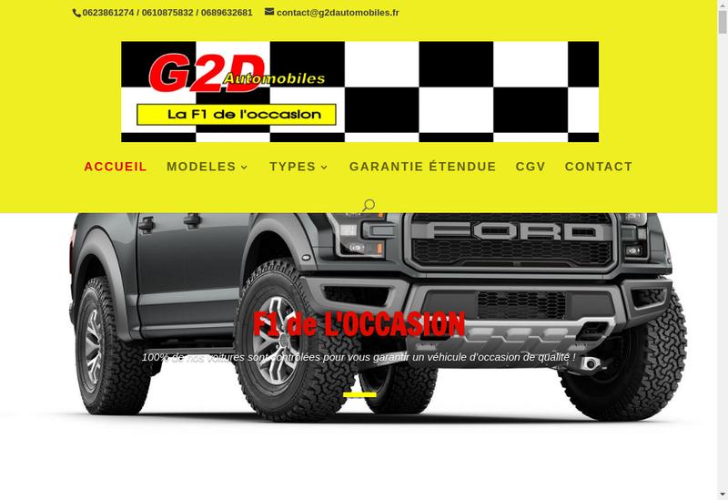 Capture d'écran du site de G2D Automobiles