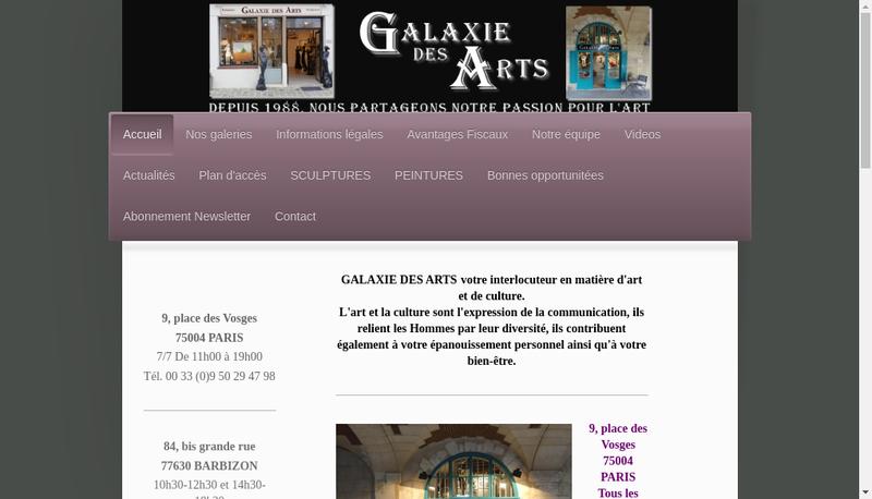 Capture d'écran du site de Galaxie des Arts