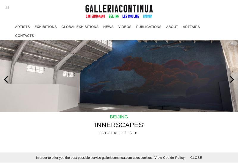 Capture d'écran du site de Galleria Continua