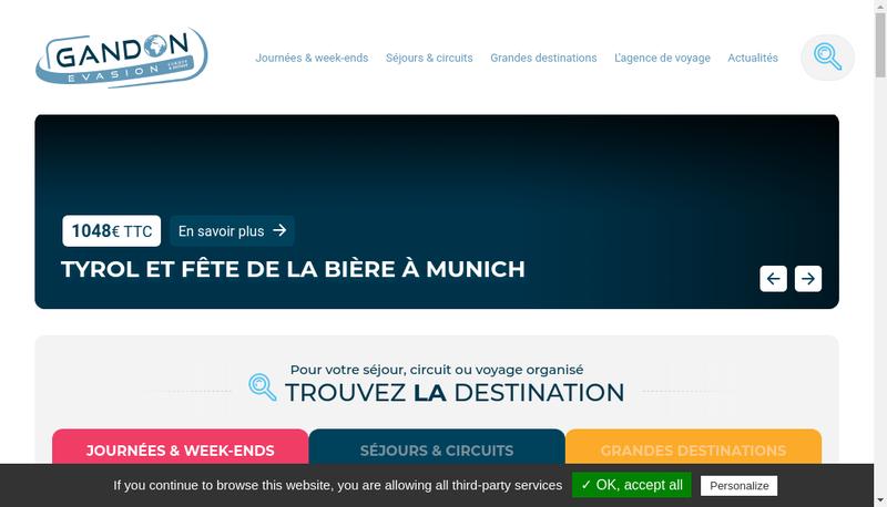Capture d'écran du site de Gandon Evasion