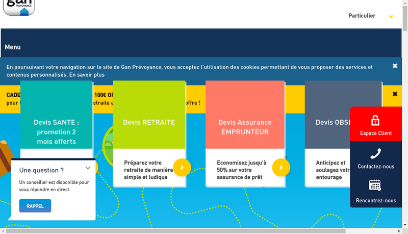 Capture d'écran du site de Gan Prevoyance