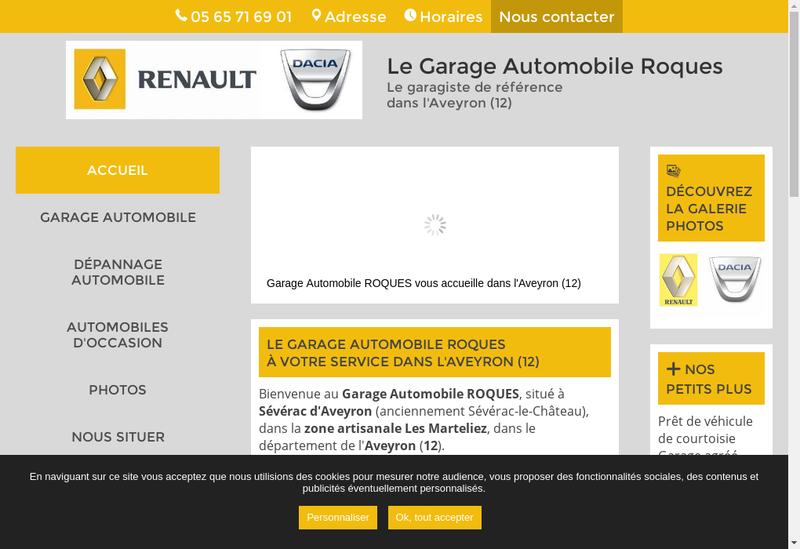 Capture d'écran du site de Garage Roques