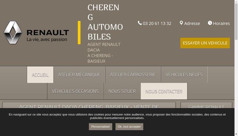 Capture d'écran du site de Chereng Automobiles