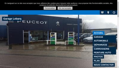 Capture d'écran du site de Garage Lebarq