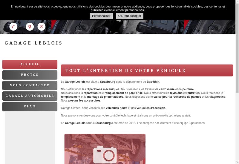 Capture d'écran du site de Garage Leblois