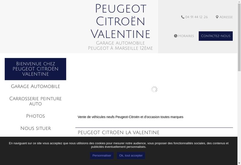 Capture d'écran du site de Peugeot Valentine