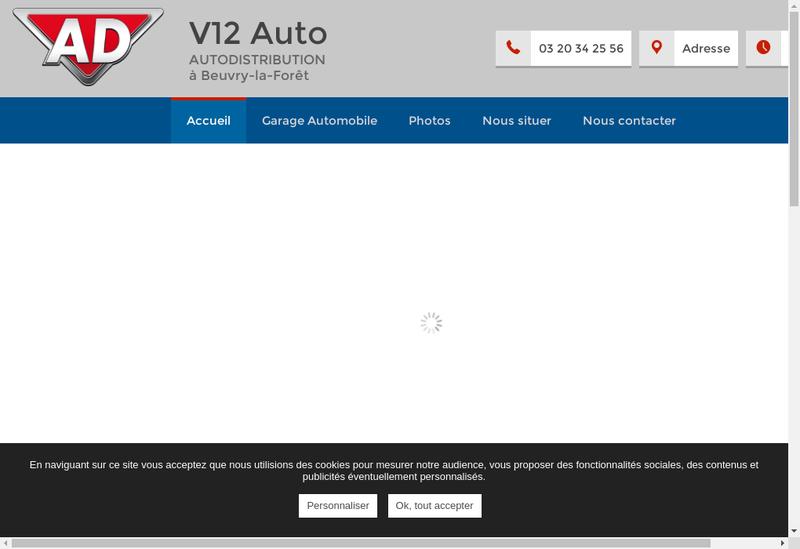 Capture d'écran du site de V12 Auto