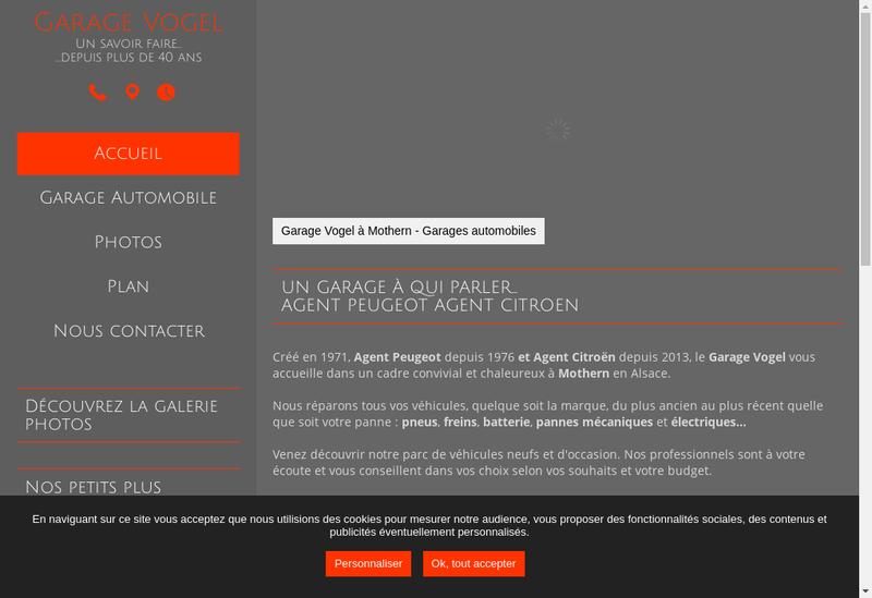Capture d'écran du site de Garage Vogel