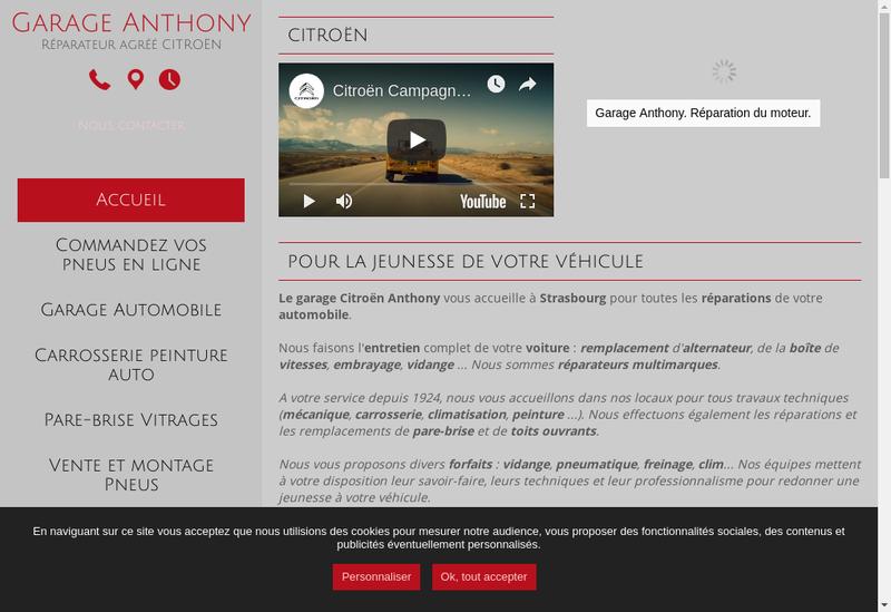 Capture d'écran du site de Garage Anthony